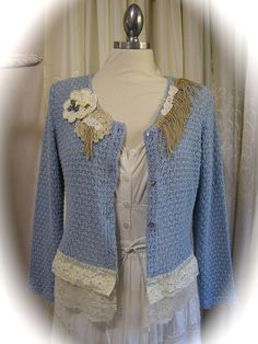 altered clothing | Shabby Altered Sweater, upcycled altered couture clothing, cotton ...