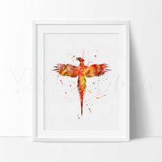 Harry Potter Print, Phoenix Bird Watercolor Nursery Art Print, Kids Harry Potter Playroom Wall Art, Harry Potter Decor, Not Framed, No. 41