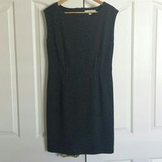 Anne Taylor LOFT sheath dress Black/charcoal animal print sheath dress. Pleats at waist. LOFT Dresses