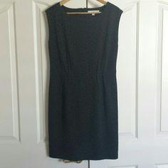 Anne Taylor LOFT sheath dress Black/charcoal animal print sheath dress. Pleats at waist. LOFT Dresses