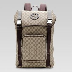 Gucci Backpack with Interlocking G Detail 246321 in Beige/Brown