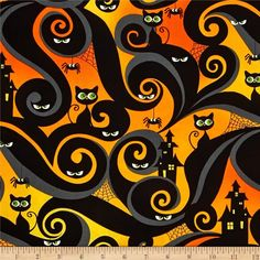 Who's Watching Halloween Allover orange. Marcus Brothers Who's Watching Marcus Fabrics Halloween Stoff, Halloween Fabric, Halloween Cat, Cotton Crafts, Here Kitty Kitty, Paper Background, Halloween Decorations, Arts And Crafts, Fabrics