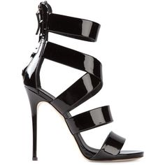 Giuseppe Zanotti Design Strappy Sandals ($454) ❤ liked on Polyvore featuring shoes, sandals, heels, high heels, sapatos, black, high heel stilettos, black stilettos, black strap sandals and black strappy stilettos