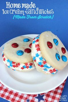 Be sure to check out these Homemade Sugar Cookie Ice Cream Sandwiches Recipe for the perfect Patriotic Dessert! Make these for Memorial Day or 4th of July!