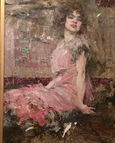 Completely captivated by this exquisite painting by Russian artist Nicola Fechin, 1912, called 'Lady in Pink' she resides at the Frye…