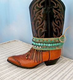 Boot Jewelry Ankle Wrap Bohemian Bracelet by CalCoastCreations