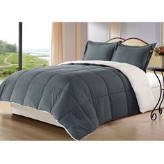 King size 3-Piece Sherpa Berber Throw Blanket Comforter Set in Grey - Quality House