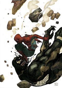 Venom Vs Spidey by Frédéric Pham Chuong Marvel Comic Universe, Marvel Art, Marvel Dc Comics, Marvel Heroes, Marvel Characters, Marvel Avengers, Comic Villains, Spectacular Spider Man, Amazing Spider