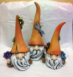 Ceramic gnomes, set of 3 cute garden gnomes, garden art, gnomes: