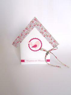 Faire-part naissance, baptême nichoir rose et liberty eloise avec oiseaux, fait-main : Faire-part par fairepartfaitmain