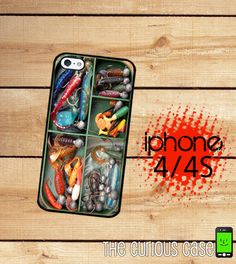 iPhone 4S Case Iphone 4 Case Fishing Tackle Box  / Hard Case For iPhone 4 and iPhone 4S Fish Lures  Rubber Trim...possible bday gift for my boyfriend