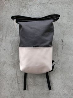 Rolltop backpack for urban cycling, commuting and travels Braasi Unique Backpacks, Vintage Backpacks, Backpack Bags, Leather Backpack, Fashion Bags, Fashion Backpack, Urban Bags, Back Bag, Yoga Bag