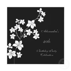 Asian Black Floral White Personalized Invitations by Zizzago