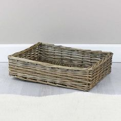 These antique wash wicker hamper trays are great for gifting and come in three versatile sizes to suit any of your storage needs Wicker Hamper Basket, Basket Tray, Kitchen Essentials, Storage Baskets, Natural Materials, Household Items, Hampers, Antiques, Empty