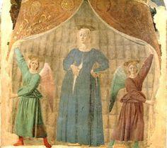 Piero della Francesca, Vierge de l'enfantement (Madonna del parto), 260x203 cm, fresque de la chapelle du cimetière de Monterchi, 1452.