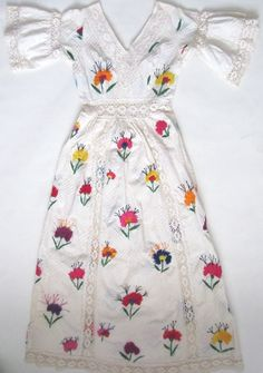 Vtg 60s White Floral Embroidered Lace Crochet Mexican Wedding Maxi Dress Sz s XS | eBay