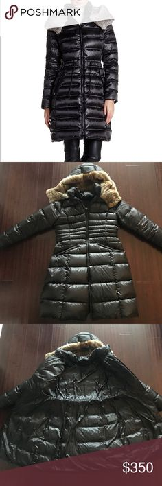 Dawn Levy  DL2 Sabine Down Coat, real fur trim Dawn Levy - DL2 Women's Sabine Long Down Coat with Fur Trim, Black/Gunmetal, Large. Worn only a few times, no longer fits. Offers welcome! Dawn Levy Jackets & Coats