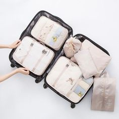 4 Set Packing Cubes Travel Luggage Packing Organizers Sweet Dream Llama