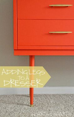 Great step by step tutorial on how to add legs to a dresser!