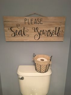 Cute Bathroom Signs Please Seat Yourself Sign Powder Room Decor Bathroom Sign Hand Lettering Sign By Cute Printable Bathroom Signs – homefield Diy Bathroom, Bathroom Signs, Laundry In Bathroom, Bathroom Ideas, Bathroom Remodeling, Master Bathroom, Basement Bathroom, Remodeling Ideas, Funny Bathroom