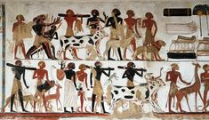 Egyptian painting, in the British Museum Ancient Egyptian Food, Ancient Egyptian Paintings, Egyptian Era, Ancient Greece, Ancient Mesopotamia, Ancient Civilizations, Ancient History, Art History, Egypt Animals
