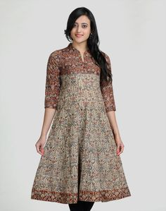 Cotton Kalamkari Anarkali Mirror Work Long Kurta s Punjabi Dress, Anarkali Dress, Pakistani Dresses, Indian Dresses, Indian Outfits, Kurta Patterns, Dress Patterns, Salwar Designs, Blouse Designs