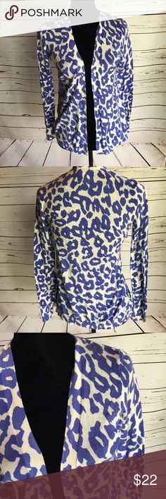 Loft cotton lightweight cardigan leopard small P Lightweight cotton cardigan from Ann Taylor Loft. Open front, with a periwinkle blue and white leopard print. Small petite size, SP  Very good condition; no major flaws noted. LOFT Sweaters Cardigans