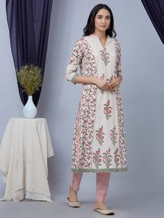 Pink White Hand Block Printed Cotton Anarkali Kurta with Striped Pants and Dupatta - Set of 3 New Kurti Designs, Churidar Designs, Kurta Designs Women, Cotton Anarkali, Hand Embroidery Dress, Hijab Fashion Inspiration, Cotton Suit, Indian Designer Wear, Indian Outfits