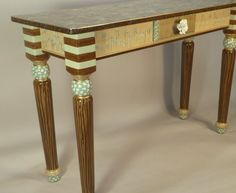 Sofa Table-Turned Legs:  Blue-Green, Anthropologie Knob, Custom Made-To-Order by SuzanneFitchGallery. Buy on Etsy  $1980.00