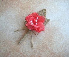Coral Boutonniere  Rustic Wedding  Groom  Groomsmen  by FloroMondo