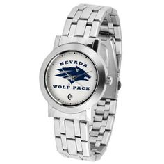 "Nevada Wolf Pack NCAA ""Dynasty"" Mens Watch by SunTime. $84.60. Stainless Steel Case. Date Display. Scratch Resist Face. Elegant design for the modern man or woman who wants to show their team spirit! The dial is presented in a sleek, stainless steel case and bracelet that rests fashionably yet comfortably across the wrist. Features a convenient date display, quartz accurate movement and a scratch resistant mineral crystal face.. Save 10% Off!"