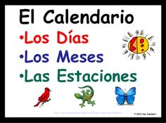 Spanish Calendar Days of the Week, Months of the Year and Seasons by Sue Summers - colorful classroom decorations / word wall and Power Point presentation.