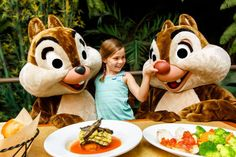Garden Grill - fresh foods, some grown at epcot, chip n dale are there for every meal. A girl stands between Chip 'n Dale and squeezes Dale's big red nose at The Garden Grill restaurant Disney Resort Hotels, Walt Disney World Vacations, Disney Trips, Disney Travel, Magic Vacations, Disney Destinations, Disney Parks, Grill Restaurant, Restaurants