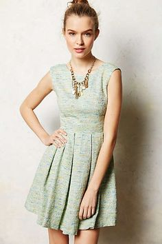Parkside pleated dress - green with metallic threads