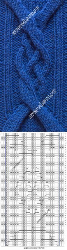 узор 469 коса шириной 24 петли | каталог вязаных спицами узоров