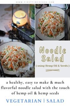 This is a healthy, easy to make & much flavorful noodle salad with the touch of hemp oil & hemp seeds. Just make ahead of time and refrigerate to use later. #vegetarian #salad #NoodleSalad #hempseed #HempOil #Paneer #Snack #LightMeal #LowOilRecipe #VegetarianSalad