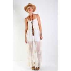 Nightcap Clothing Genevieve Gown in Natural Crochet Lace