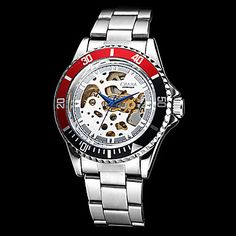 Men's Auto-Mechanical Black & Red Case Hollow Dial Steel Band Wrist Watch (Assorted Colors) – USD $ 36.99