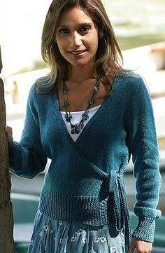 Free Knitting Pattern for Cross Over Cardigan - wrap cardigan sweater with ties