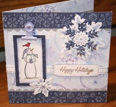 I used the snowflake cuttlebug embossing folder on Core'dinations cardstock and sanded. Cut, embossed and sponged snowflakes cut from Spellbinders Flake set. Stamped Happy Holidays on whisper white and cut out using the labels set from Spellbinders. Christmas Snowman, Christmas Cards, Cuttlebug Embossing Folders, Snowmen, Happy Holidays, Snowflakes, Card Stock, Stampin Up, Card Ideas