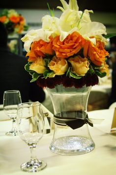 Ivory Orange Red Yellow Centerpieces Wedding Reception Photos & Pictures - WeddingWire.com
