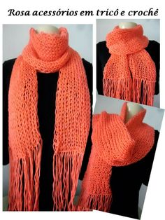 Laranja é perfeito! Cachecol, Scarf, tricot, knitting, knit by www.rosaacessorios.blogspot.com