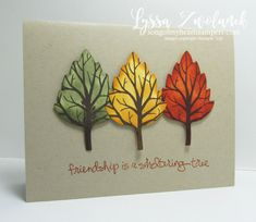 """Instructions for """"Autumn Leaf Trees"""" card designed by Lyssa Griffin Zwolanek for Song of My Heart Stampers. All supplies Stampin' Up! """"Ready to Make It?"""" cards are designed to be created in fifteen mi Winter Cards, Fall Cards, Holiday Cards, Christmas Cards, Leaf Cards, Birthday Cards For Men, Thanksgiving Cards, Autumn Leaves, Big Leaves"""