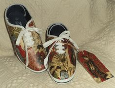 Japan/Geisha shoes, decorated using images from paper napkins. Made to order.  www.folksy.com/shops/YourLovelyHome www.facebook.com/YourLovelyHomeStephanieSinclair
