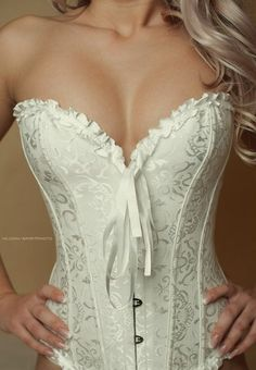 Beautiful white corest Wedding night sinfulness ;-)
