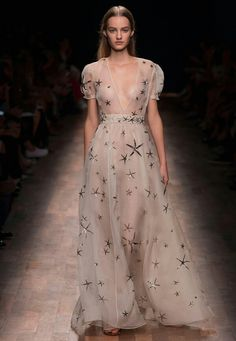 """{Sheer Silk Organza """"Seastar Starfish"""" Dress, With Short Puffed Sleeves, Plunging V Neckline, A-Line Skirt, & Metallic Starfish Motif Throughout; by Valentino 2015 """"Ready To Wear""""}"""