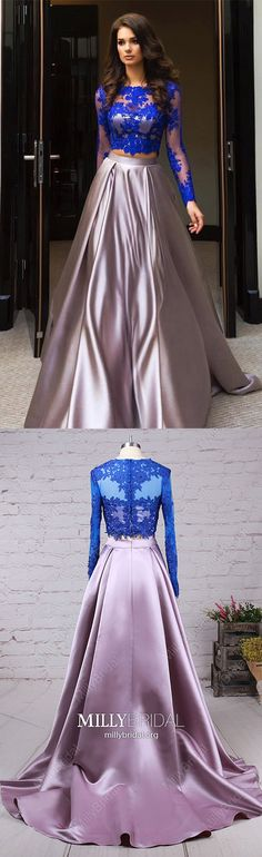 Modest Ball Gown Prom Dresses,Long Formal Evening Dresses with Sleeves,Two Piece Military Ball Dresses Unique,Lace Wedding Party Dresses Long Sleeve #MillyBridal #dresswithsleeves #twopiece #promdresses