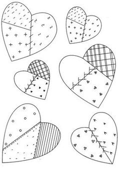 Think Fall Embroidery ePattern Heart Quilt Pattern, Applique Quilt Patterns, Applique Templates, Hand Embroidery Patterns, Wool Applique, Applique Designs, Patch Quilt, Quilt Blocks, Colchas Country