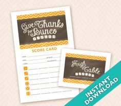Downloadable Thanksgiving Printable Bunco by LLPapergoods on Etsy, $6.00