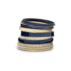 JCPenney Mixit Blue/Gold Nautical Bangle Set ❤ liked on Polyvore featuring jewelry, bracelets, yellow gold jewelry, blue gold jewelry, bracelet bangle, blue jewelry and bangle bracelet set